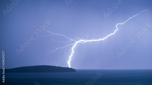 Lightning Striking The Picturesque Dream-Like Sun Island (Isla Del Sol) in the M Wallpaper Mural
