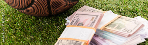 Photo panoramic shot of euro and dollar banknotes on green grass, sports betting conce