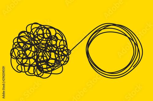 Fototapeta Unraveling tangled tangle.