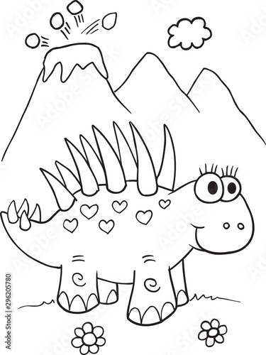 Cute Dinosaur Illustration Vector Art