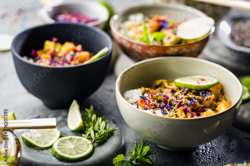 Top view composition of various Asian food in bowl Fototapete