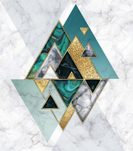 Abstract Geometric Background, Modern Marble Mosaic Inlay, Malachite Green Triangles, Black White Stone Textures, Golden Foil. Fashion Marbling Illustration, Art Deco Wallpaper