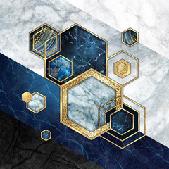 Fototapeta Art Deco abstract geometric background, hexagonal shapes. Modern marble mosaic inlay, art deco wallpaper. Geometrical fashion illustration. Blue gold black honeycomb with artificial stone texture.
