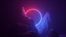 3d Abstract Neon Background. C...