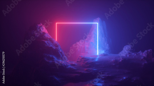 Stampa su Tela 3d abstract neon background