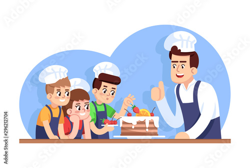 Photo Сhildren cooking class flat vector illustration