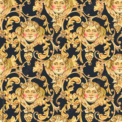 Tapety Barokowe  akwarela-zloty-barokowy-aniol-wzor-kwiatowy-curl-rokoko-ornament-tekstura-recznie-rysowane-zloty-zwoj-winogrona-liscie-na-bialym-tle