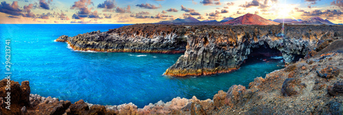 Montage in der Fensternische Kanarische Inseln Beaches, cliffs and islands of Spain.Scenic landscape Los Hervideros lava's caves in Lanzarote island,landmark in Canary islands