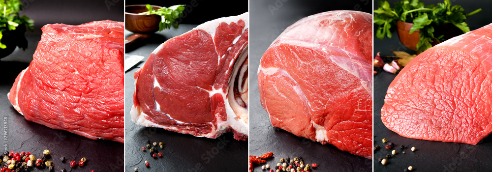Fototapeta Delicious and tasty  food collage of raw meat and butchery products.Round veal and beef steak on a black background.