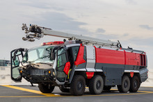 Airport Fire Fighting Truck, Isolated Background
