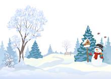 Snowy Park And Snowman