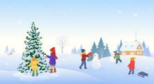 Winter Kids In A Village
