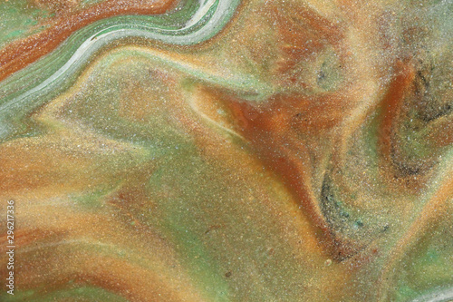 Glittering gold abounds amid shades of green and tan in this modest earth toned abstract background Slika na platnu