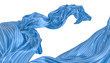 Abstract background of blue wavy silk or satin with metal stripes. 3d rendering image.