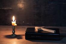 Wood Cross Laying On An Bible