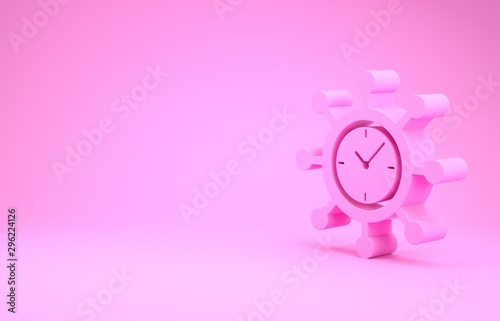 Pink Clock and gear icon isolated on pink background Wallpaper Mural