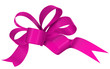 canvas print picture - Magenta ribbon bow on white background