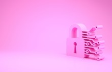 Pink Cyber Security Icon Isolated On Pink Background. Closed Padlock On Digital Circuit Board. Safety Concept. Digital Data Protection. Minimalism Concept. 3d Illustration 3D Render
