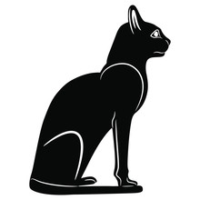 Isolated Vector Illustration. Ancient Egyptian Sitting Cat. Black And White Silhouette.