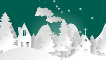 Video Animated Paper-cut Background, Pine Forest, House, Mountain And Deer In The Midst Of Falling Snow For New Year's Festivities And Christmas Holidays.