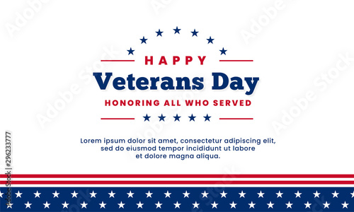 Happy Veterans Day honoring all who served simple clean poster background templa Wallpaper Mural