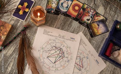 Obraz na plátně  antiguos artículos de magia ubicados en una mesa de madera