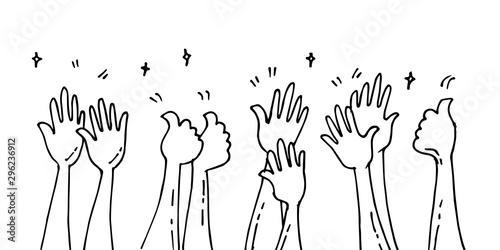 Fotografía  doodle of hands up,Hands clapping