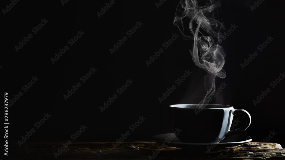 Fototapety, obrazy: beverage background of hot coffee, tea or chocolate in black cup on wooden plank in dark background
