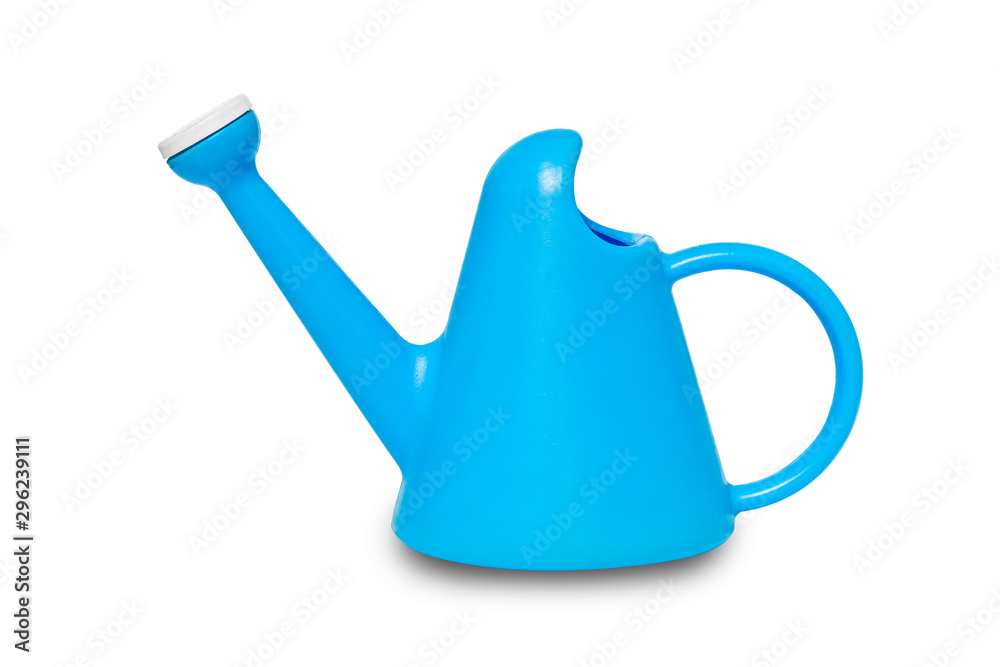 Fototapety, obrazy: The blue plastic watering cans isolated on white background with clipping path.