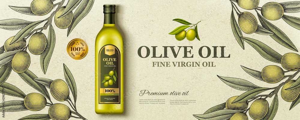 Fototapety, obrazy: Flat lay olive oil ads