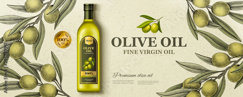 Fototapeta Flat lay olive oil ads