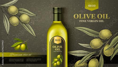 Fototapeta Flat lay olive oil ads obraz