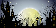 Halloween Party With Moon And Night Sky Background.