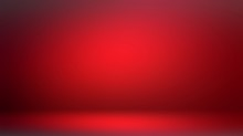 Attractive Red Room 3d Background. Low Light And Shade Vignette. Dramatic Interior. Ruby Color.