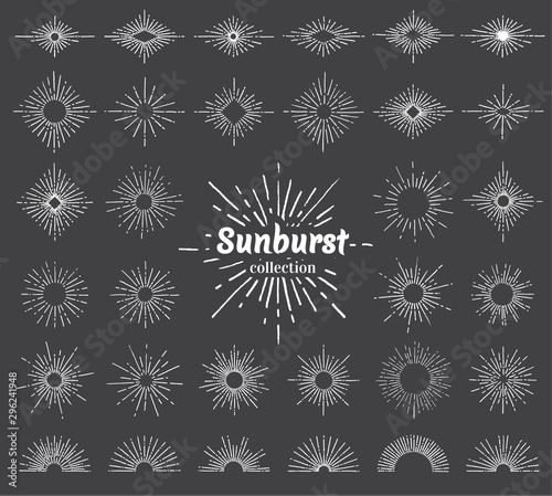 Fototapeta Vintage sunburst with radial sun beams vector collection background. EPS10. obraz