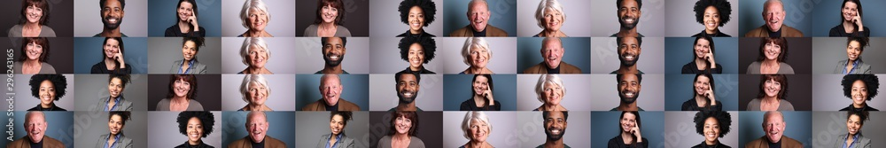Fototapety, obrazy: Group of 6 different people in front of a colored background
