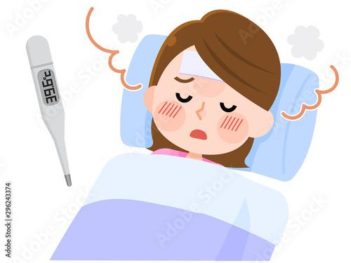 発熱 風邪 寝込む 女性 イラスト Canvas