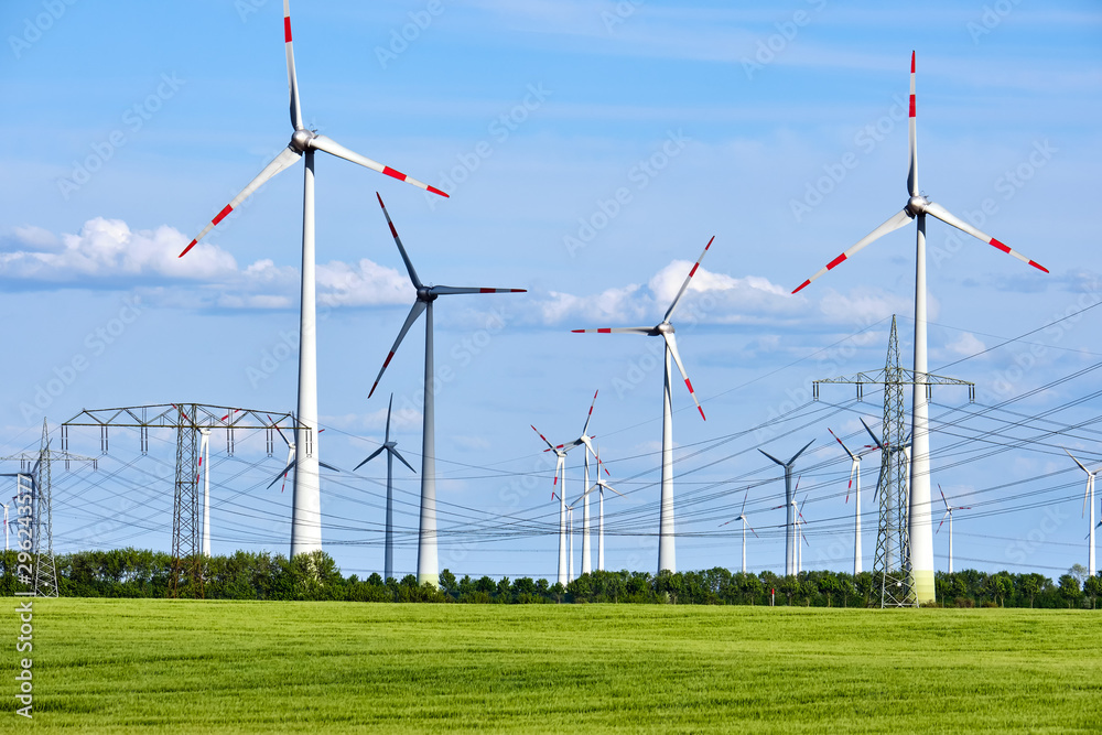 Fototapety, obrazy: Wind power plants and overhead power lines seen in Germany