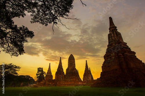 Spoed Fotobehang Bedehuis Old Buddhist temple in Ayutthaya historical park, Thailand. A UNESCO World Heritage Site.