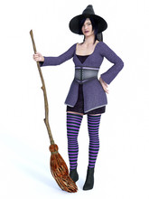 3D Rendering Of Witch Holding Broom.