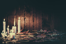 Halloween Candles Burning In The Wood With Decor, Holidays, Twilight, Hemp, A Dry Tree, Article, Rite, Black Magic, Divination, Photo