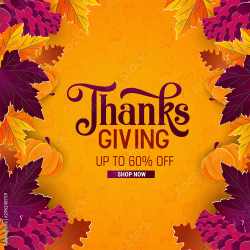 Fototapeta Thanksgiving holiday banner with congratulation text. Autumn tree leaves on yellow background obraz na płótnie