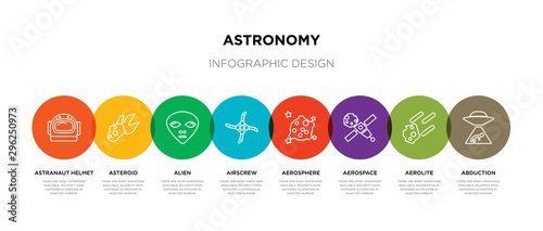 Photo 8 colorful astronomy outline icons set such as abduction, aerolite, aerospace, a
