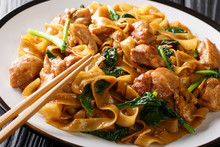 Stir Fry Of Noodles With Chicken, Chinese Broccoli And Egg Close-up On A Plate. Thai Pad See Ew. Horizontal