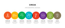 8 Colorful Circus Outline Icon...