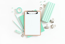 Clipboard Mockup And Set Of Mint Stationery