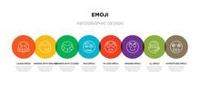 8 Colorful Emoji Outline Icons...