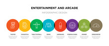 8 Colorful Entertainment And Arcade Outline Icons Set Such As Speedometer, Spinner, Steering Wheel, Surfboard, Swing, Table Football, Tamagotchi, Theater