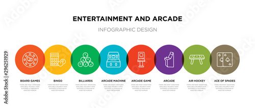 Fotomural  8 colorful entertainment and arcade outline icons set such as ace of spades, air