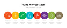 8 Colorful Fruits And Vegetables Outline Icons Set Such As Olive, Onion, Orange, Palm, Papaya, Paprika, Parsley, Passion Fruit
